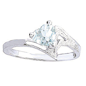 Aquamarine Devotion Ring 0.95 ct in 9ct White Gold