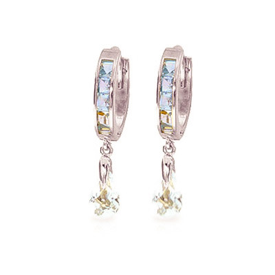 Aquamarine Droplet Huggie Earrings 2.95 ctw in 9ct White Gold