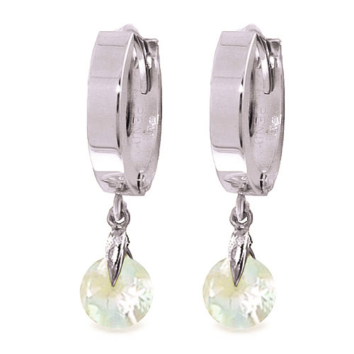 Aquamarine Huggie Drop Earrings 1.3 ctw in 9ct White Gold