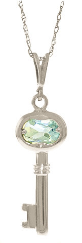Aquamarine Key Charm Pendant Necklace 0.5 ct in 9ct White Gold