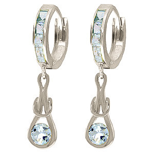 Aquamarine Loop Knot Huggie Earrings 0.85 ctw in 9ct White Gold
