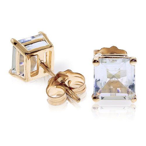 Aquamarine Stud Earrings 1.75 ctw in 9ct Gold