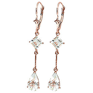 Aquamarine Two Tier Drop Earrings 3.75 ctw in 9ct Rose Gold