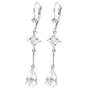 Aquamarine Two Tier Drop Earrings 3.75 ctw in 9ct White Gold