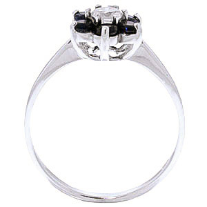 Black Diamond & Sapphire Wildflower Cluster Ring in Sterling Silver