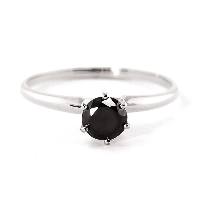 Black Diamond Crown Solitaire Ring 0.5 ct in 9ct White Gold