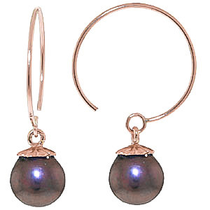 Black Pearl Eclipse Circle Wire Earrings 4 ctw in 9ct Rose Gold