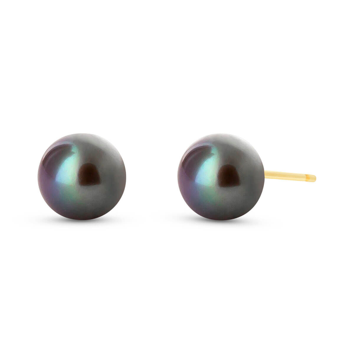 Black Pearl Stud Earrings 4 ctw in 9ct Gold