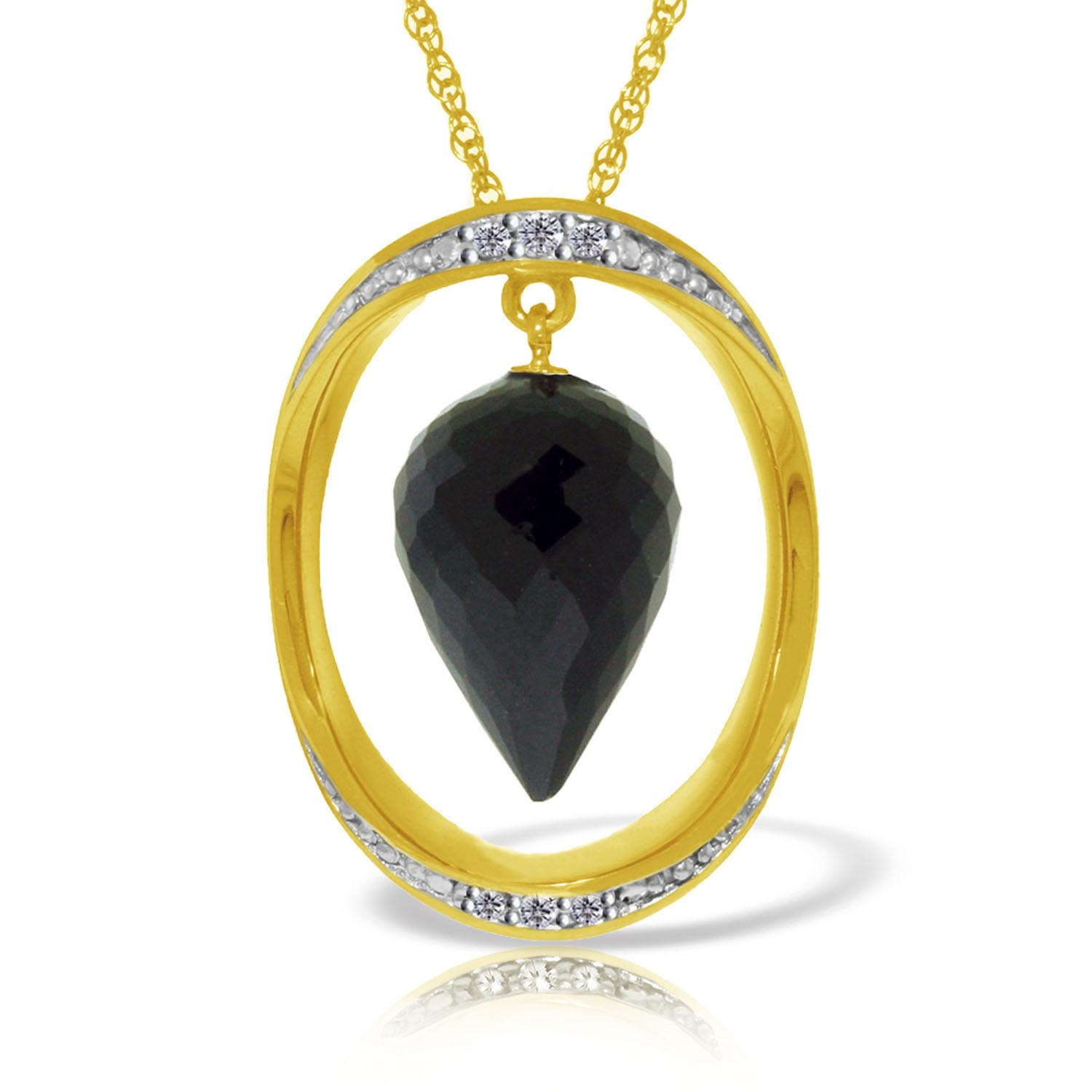 Black Spinel & Diamond Drop Pendant Necklace in 9ct Gold