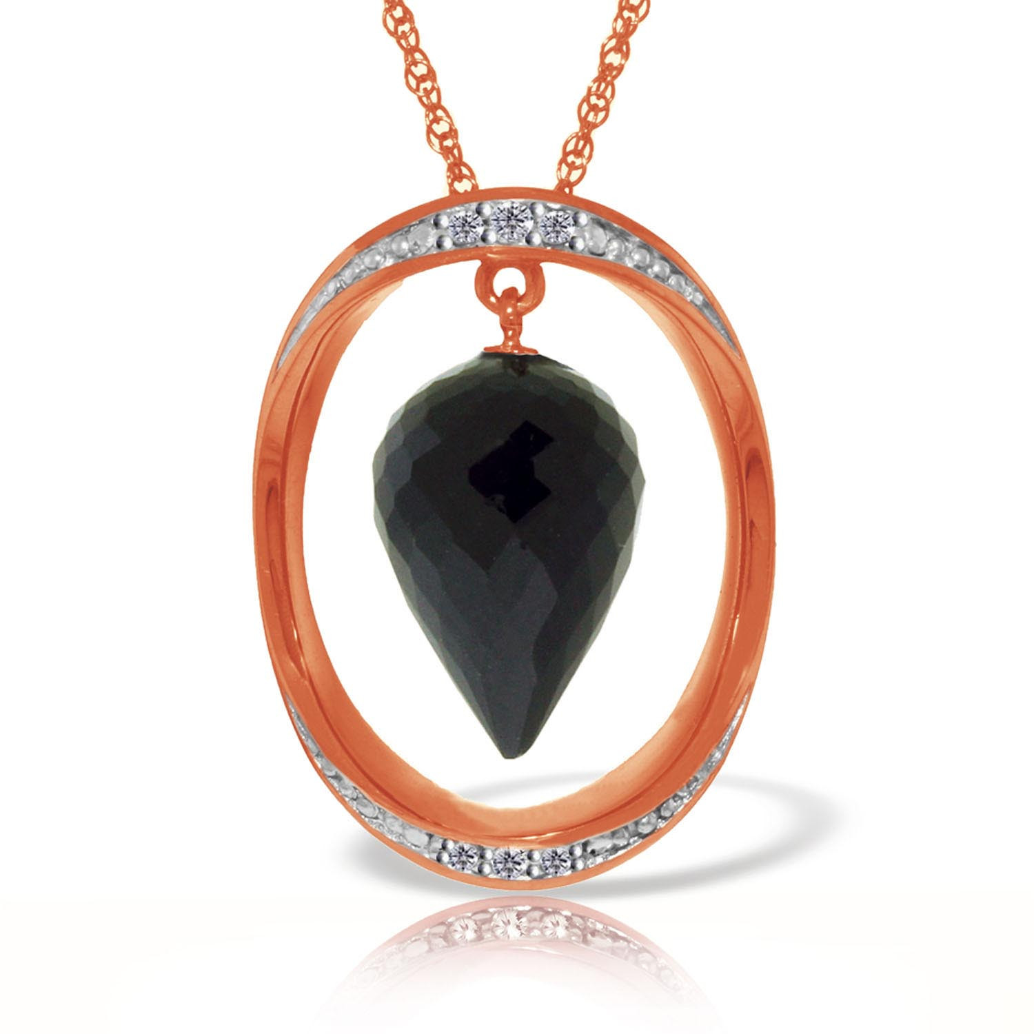 Black Spinel & Diamond Drop Pendant Necklace in 9ct Rose Gold