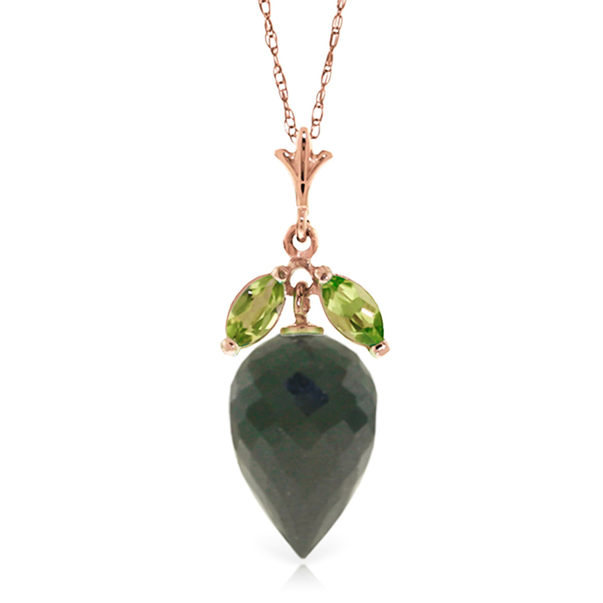 Black Spinel & Peridot Drop Pendant Necklace in 9ct Rose Gold
