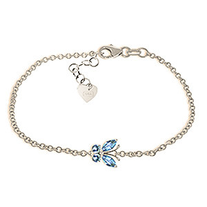Blue Topaz Adjustable Butterfly Bracelet 0.6 ctw in 9ct White Gold