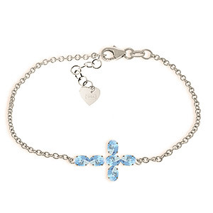Blue Topaz Adjustable Cross Bracelet 1.7 ctw in 9ct White Gold