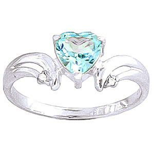 Blue Topaz & Diamond Affection Heart Ring in Sterling Silver