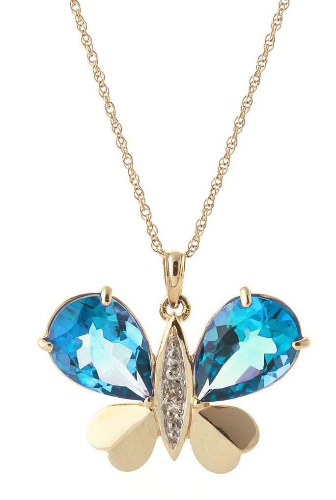 Blue Topaz & Diamond Butterfly Pendant Necklace in 9ct Gold
