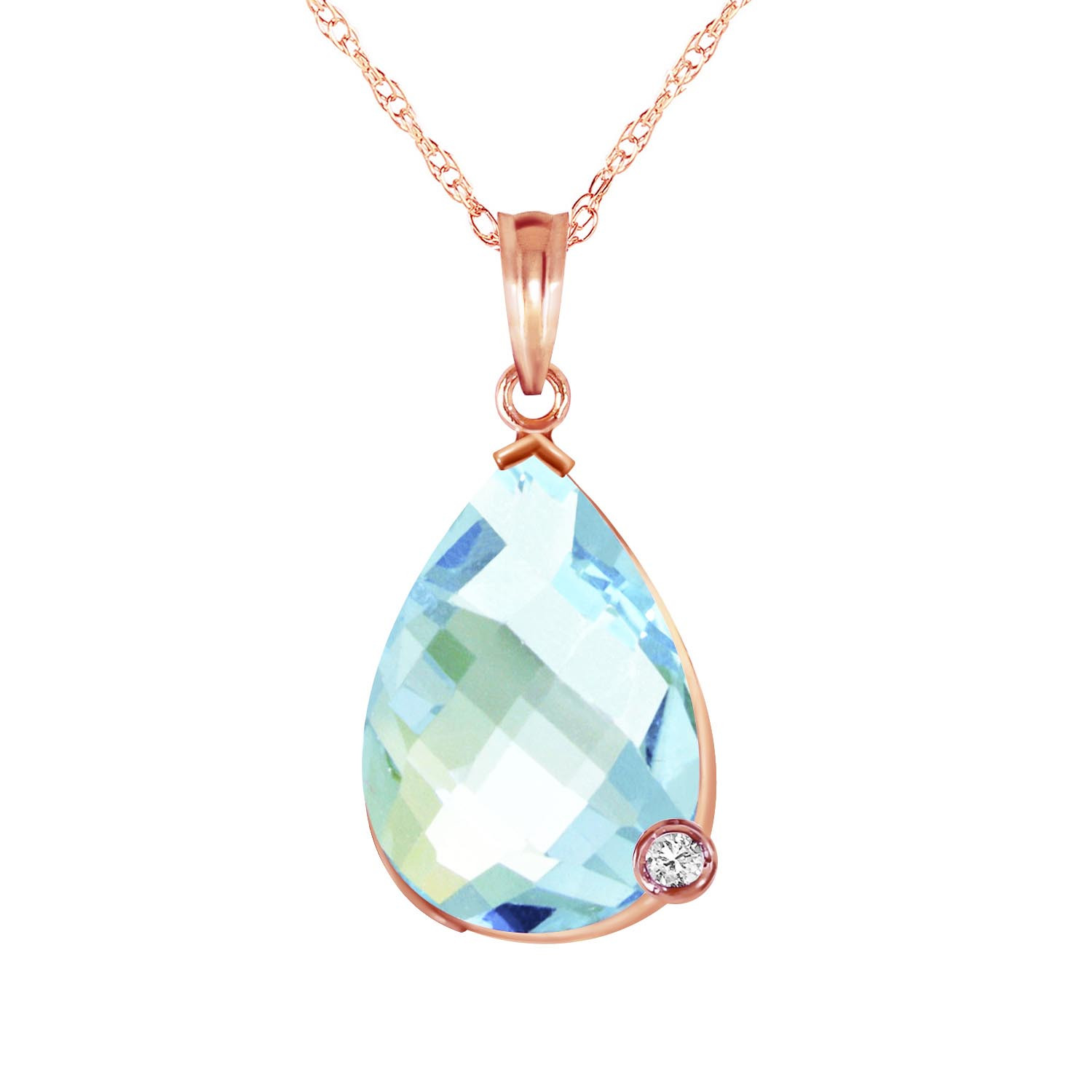 Blue Topaz & Diamond Chequer Pendant Necklace in 9ct Rose Gold