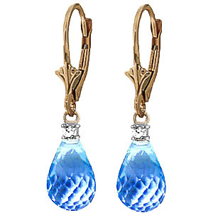 Blue Topaz & Diamond Droplet Earrings in 9ct Gold