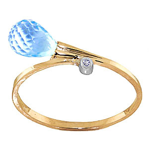 Blue Topaz & Diamond Droplet Ring in 9ct Gold