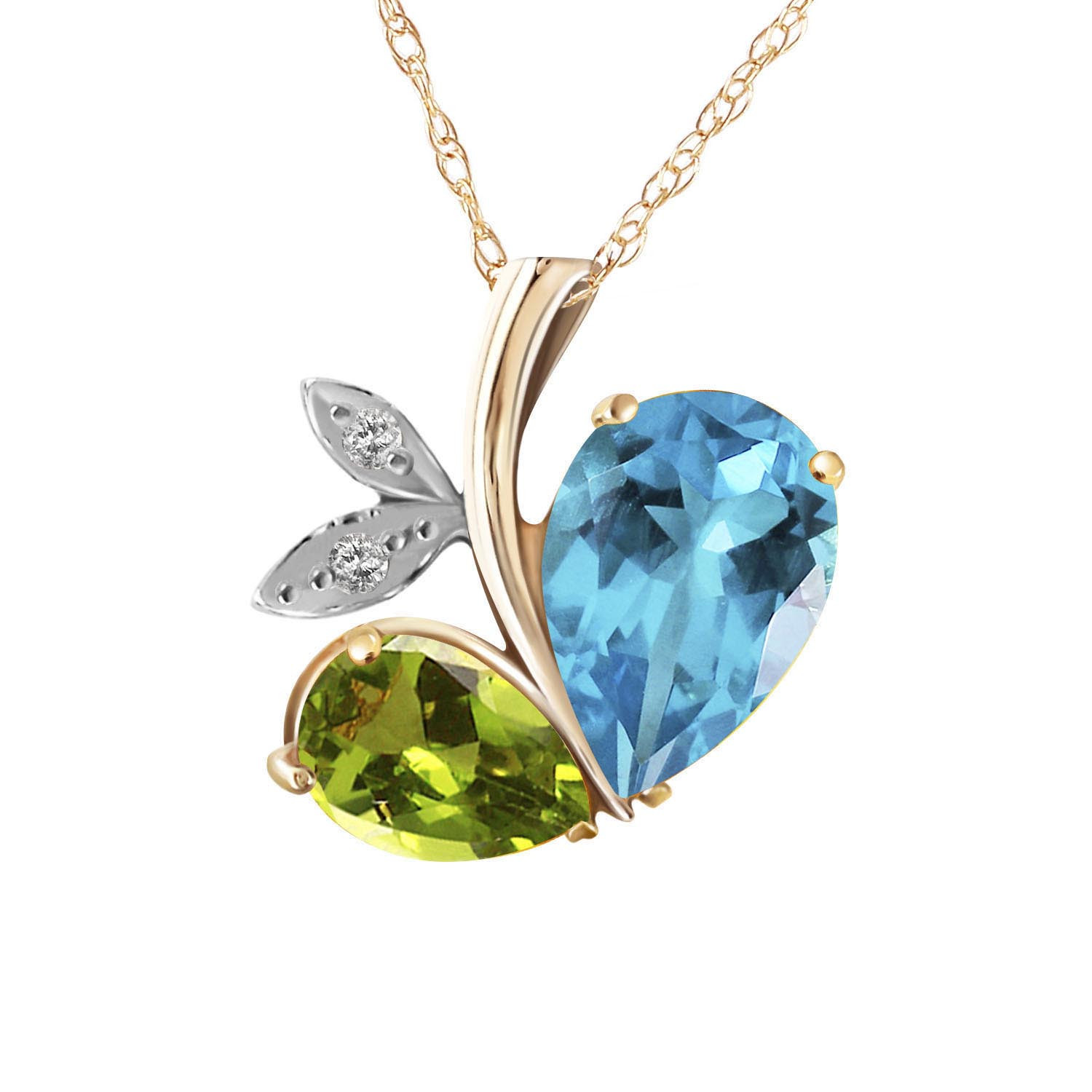 Blue Topaz & Diamond Eternal Pendant Necklace in 9ct Gold