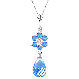 Blue Topaz & Diamond Flower Pendant Necklace in 9ct White Gold