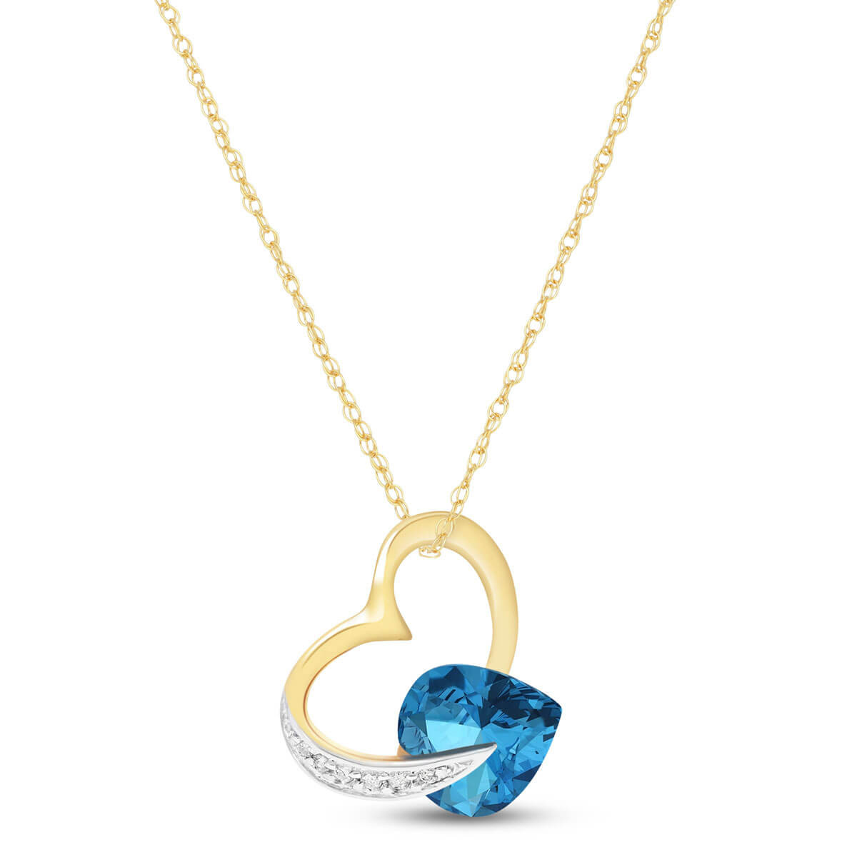 Blue Topaz & Diamond Heart Pendant Necklace in 9ct Gold