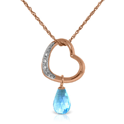 Blue Topaz & Diamond Heart Pendant Necklace in 9ct Rose Gold