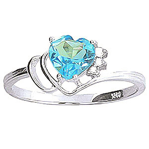 Blue Topaz & Diamond Passion Ring in Sterling Silver