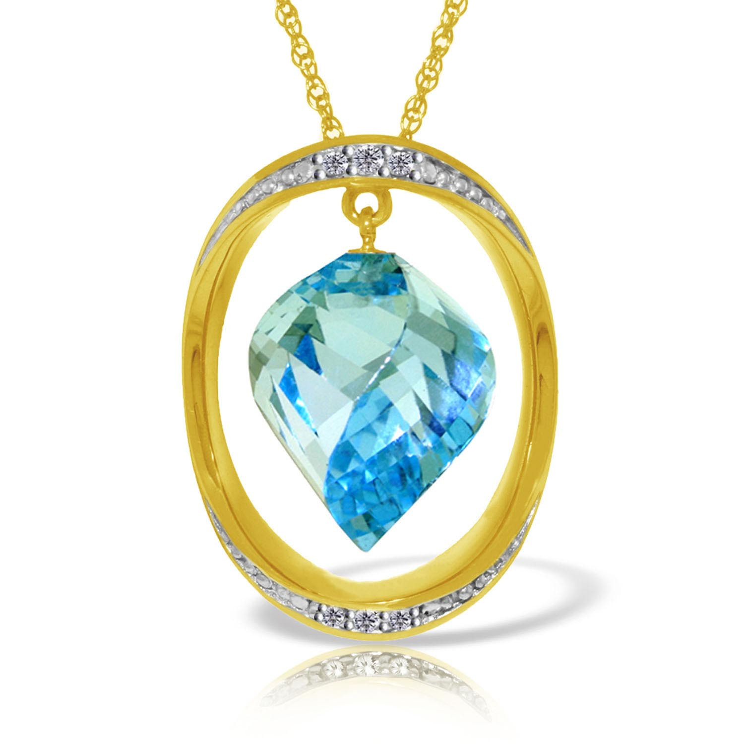 Blue Topaz & Diamond Pendant Necklace in 9ct Gold