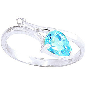 Blue Topaz & Diamond Top & Tail Ring in 9ct White Gold