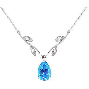 Blue Topaz & Diamond Vine Branch Pendant Necklace in 9ct White Gold