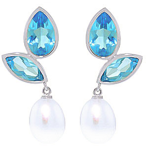 Blue Topaz & Pearl Petal Drop Earrings in 9ct White Gold