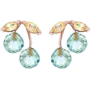 Blue Topaz & Peridot Cherry Drop Stud Earrings in 9ct Rose Gold