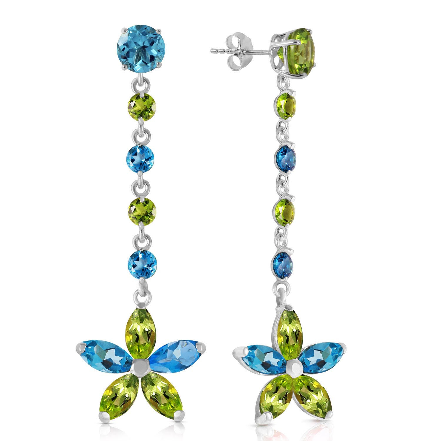 Blue Topaz & Peridot Daisy Chain Drop Earrings in 9ct White Gold