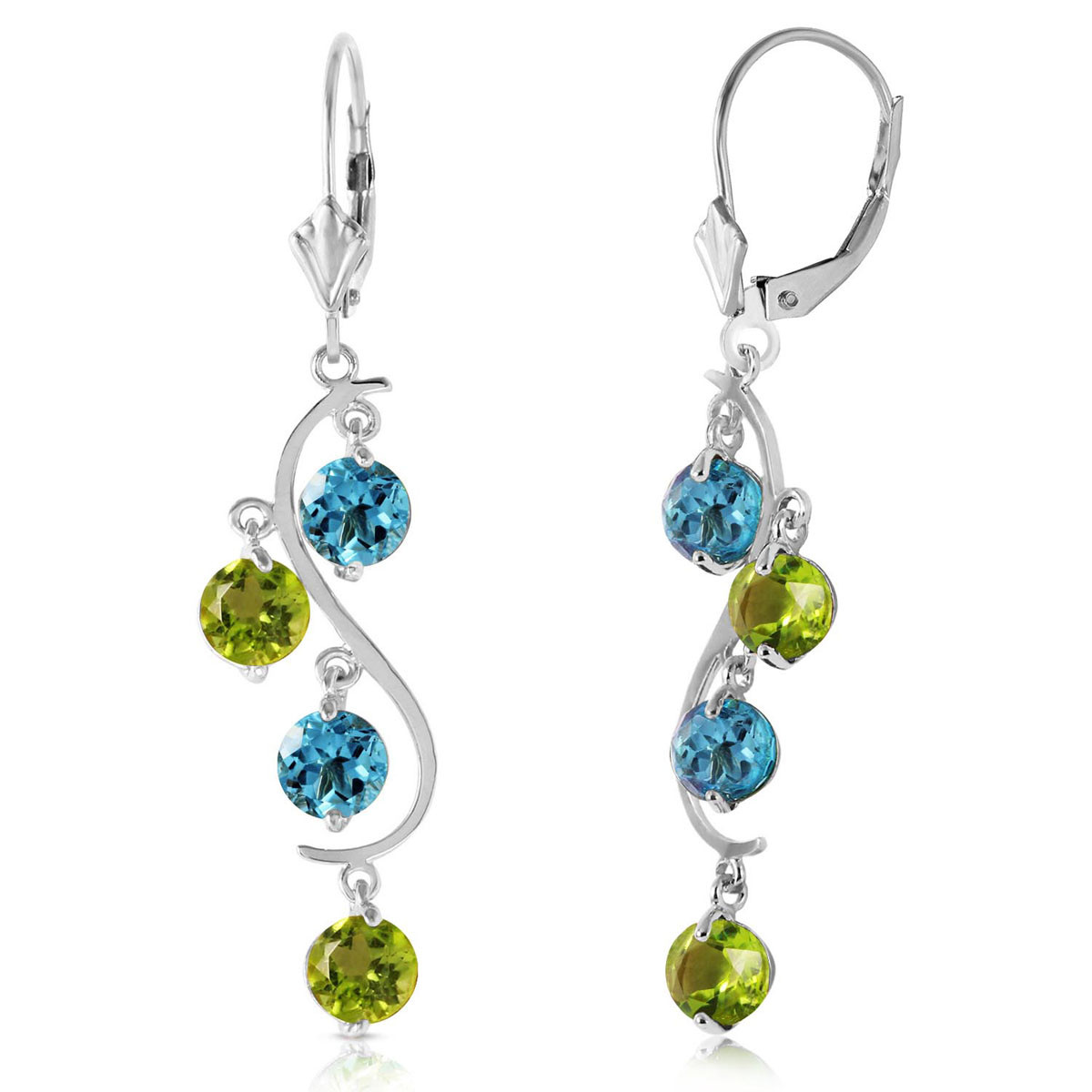 Blue Topaz & Peridot Dream Catcher Drop Earrings in 9ct White Gold