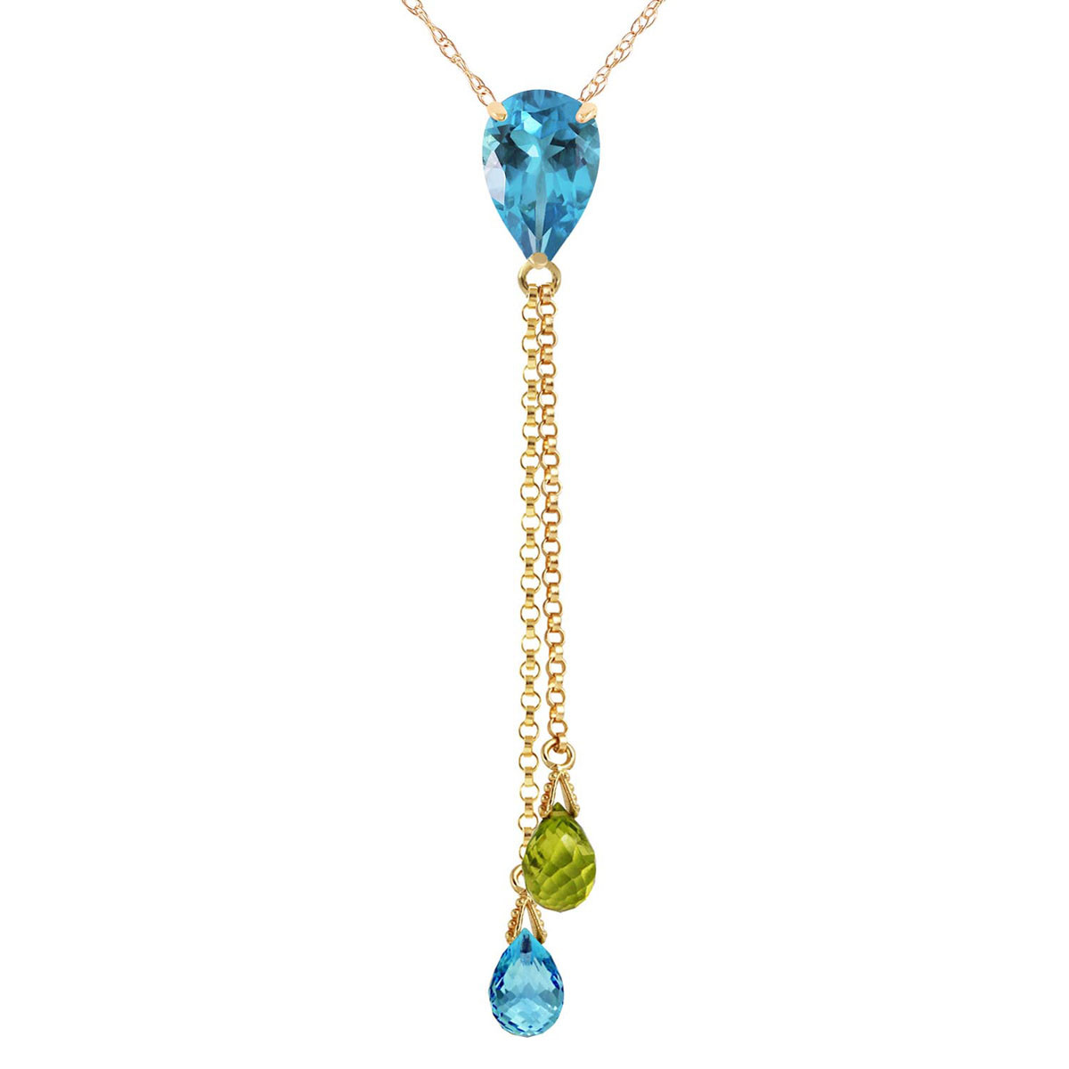 Blue Topaz & Peridot Droplet Pendant Necklace in 9ct Gold