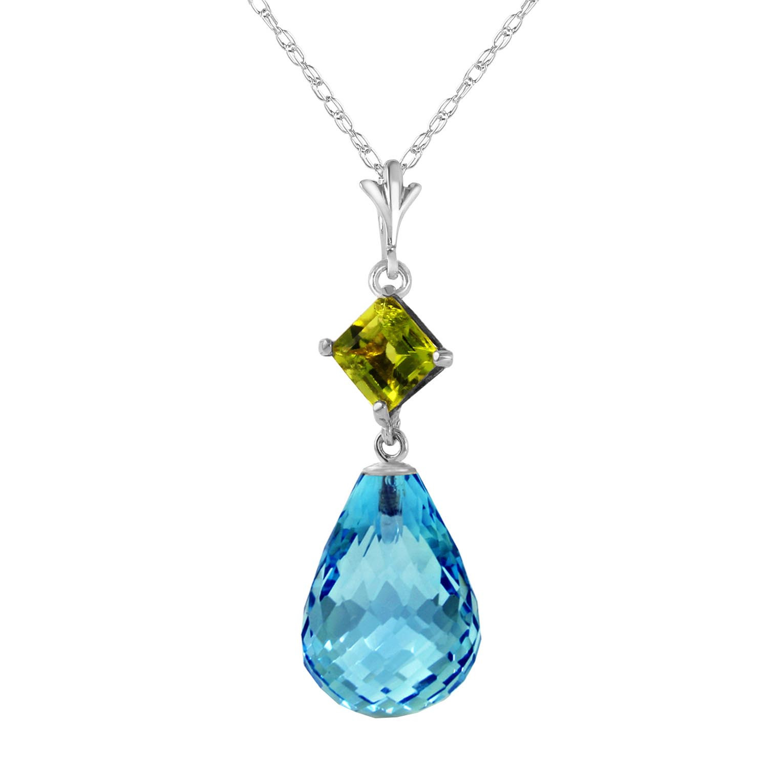 Blue Topaz & Peridot Pendant Necklace in 9ct White Gold