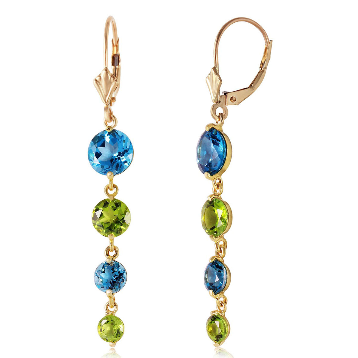 Blue Topaz & Peridot Quadruplo Drop Earrings in 9ct Gold