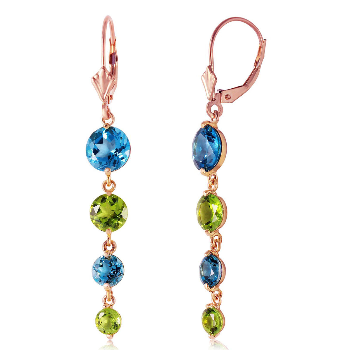 Blue Topaz & Peridot Quadruplo Drop Earrings in 9ct Rose Gold