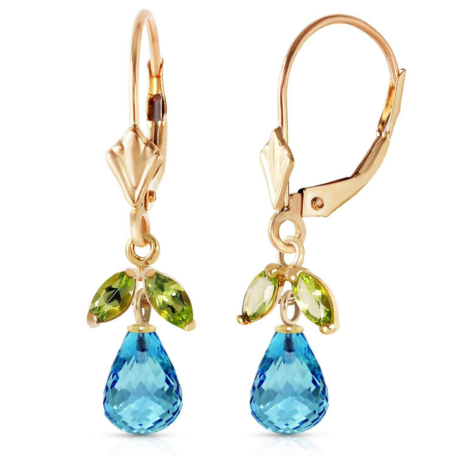 Blue Topaz & Peridot Snowdrop Earrings in 9ct Gold