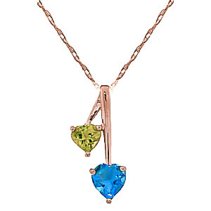 Blue Topaz & Peridot Twin Pendant Necklace in 9ct Rose Gold