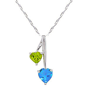 Blue Topaz & Peridot Twin Pendant Necklace in 9ct White Gold