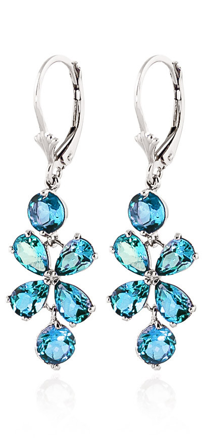 Blue Topaz Blossom Drop Earrings 5.32 ctw in 9ct White Gold