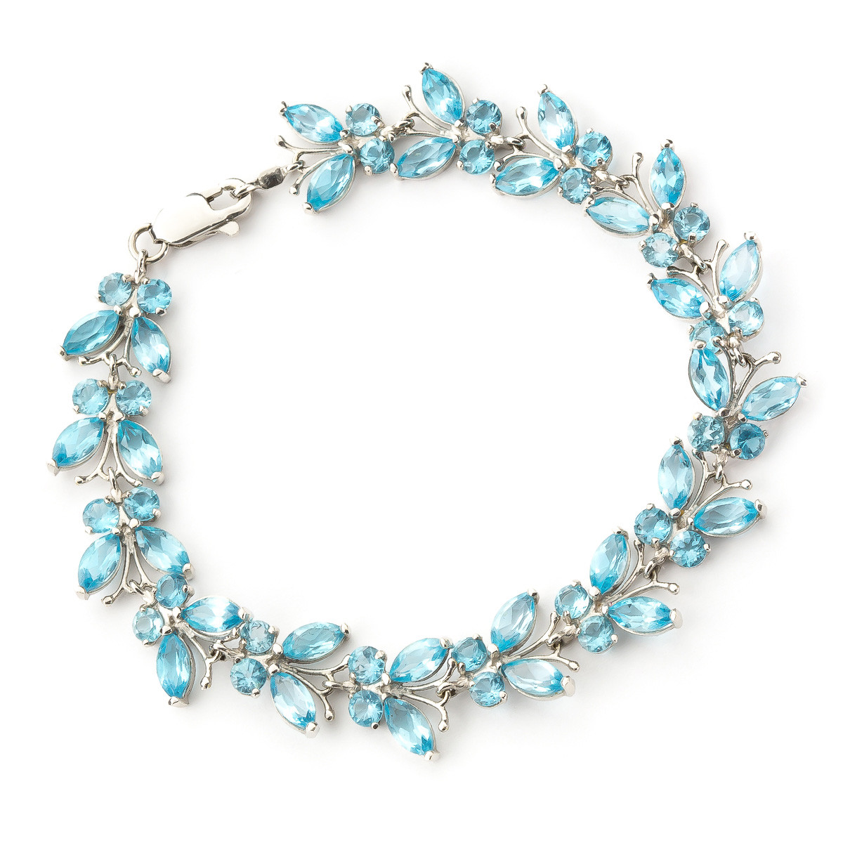 Blue Topaz Butterfly Bracelet 16.5 ctw in 9ct White Gold