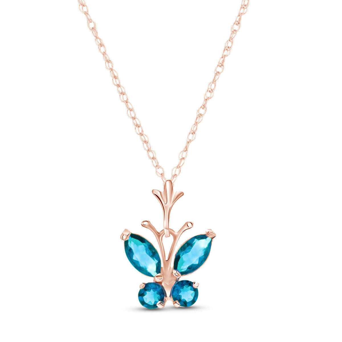 Blue Topaz Butterfly Pendant Necklace 0.6 ctw in 9ct Rose Gold
