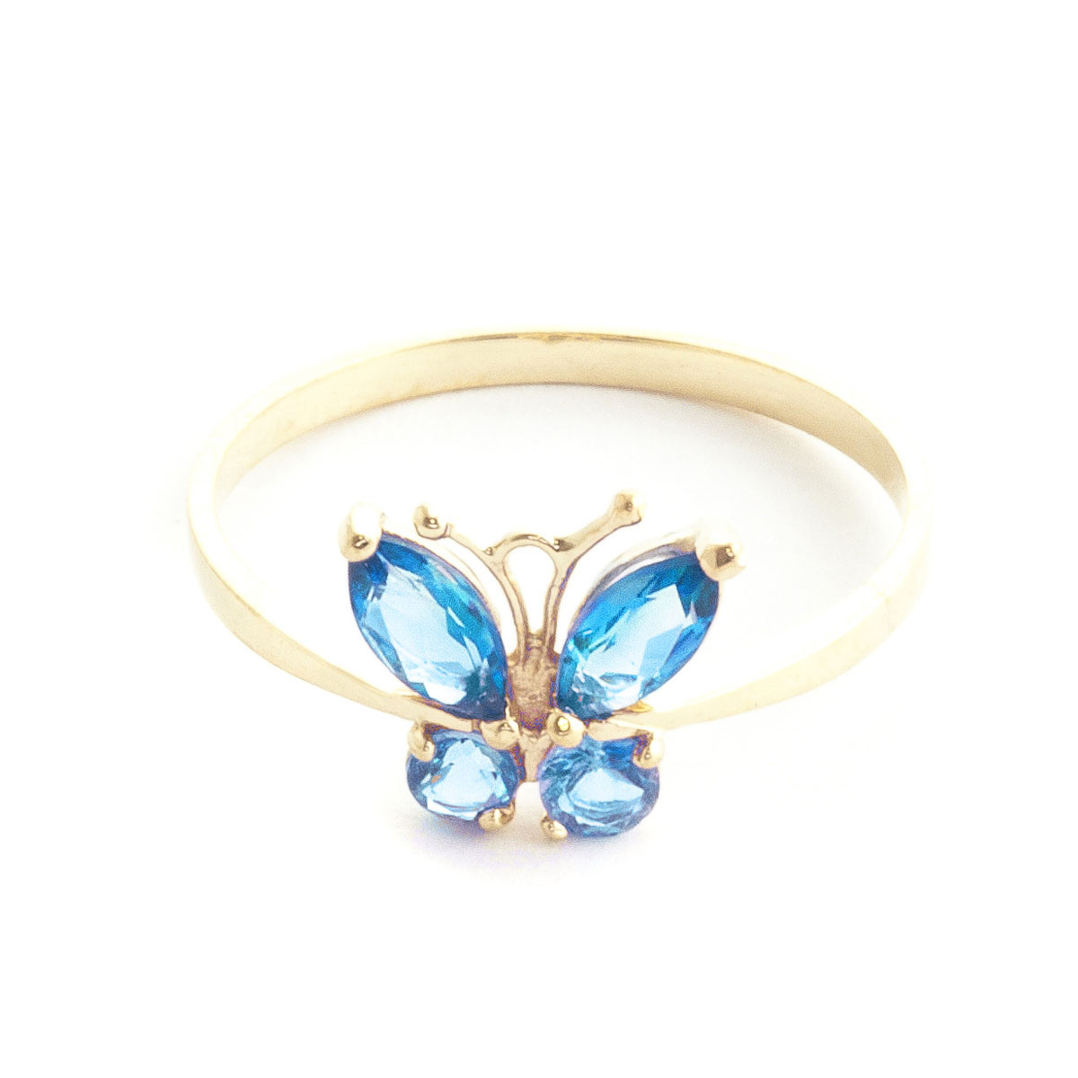 Blue Topaz Butterfly Ring 0.6 ctw in 9ct Gold