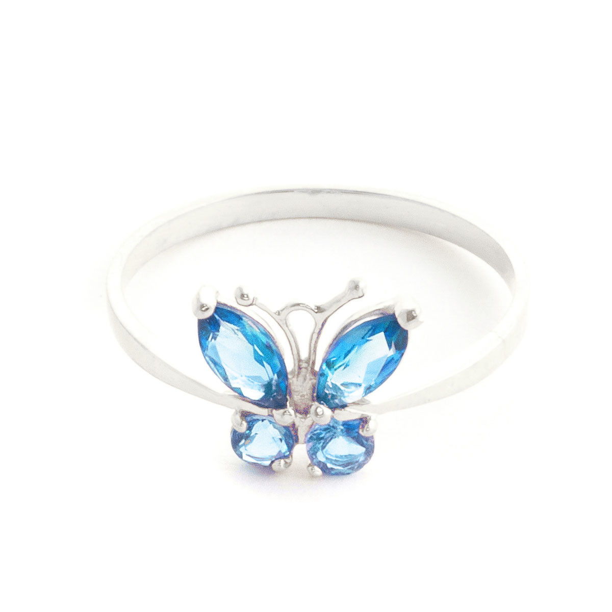 Blue Topaz Butterfly Ring 0.6 ctw in Sterling Silver