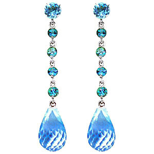 Blue Topaz by the Yard Drop Earrings 23 ctw in 9ct White Gold