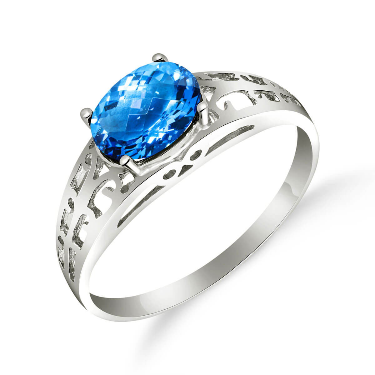 Blue Topaz Catalan Filigree Ring 1.15 ct in Sterling Silver