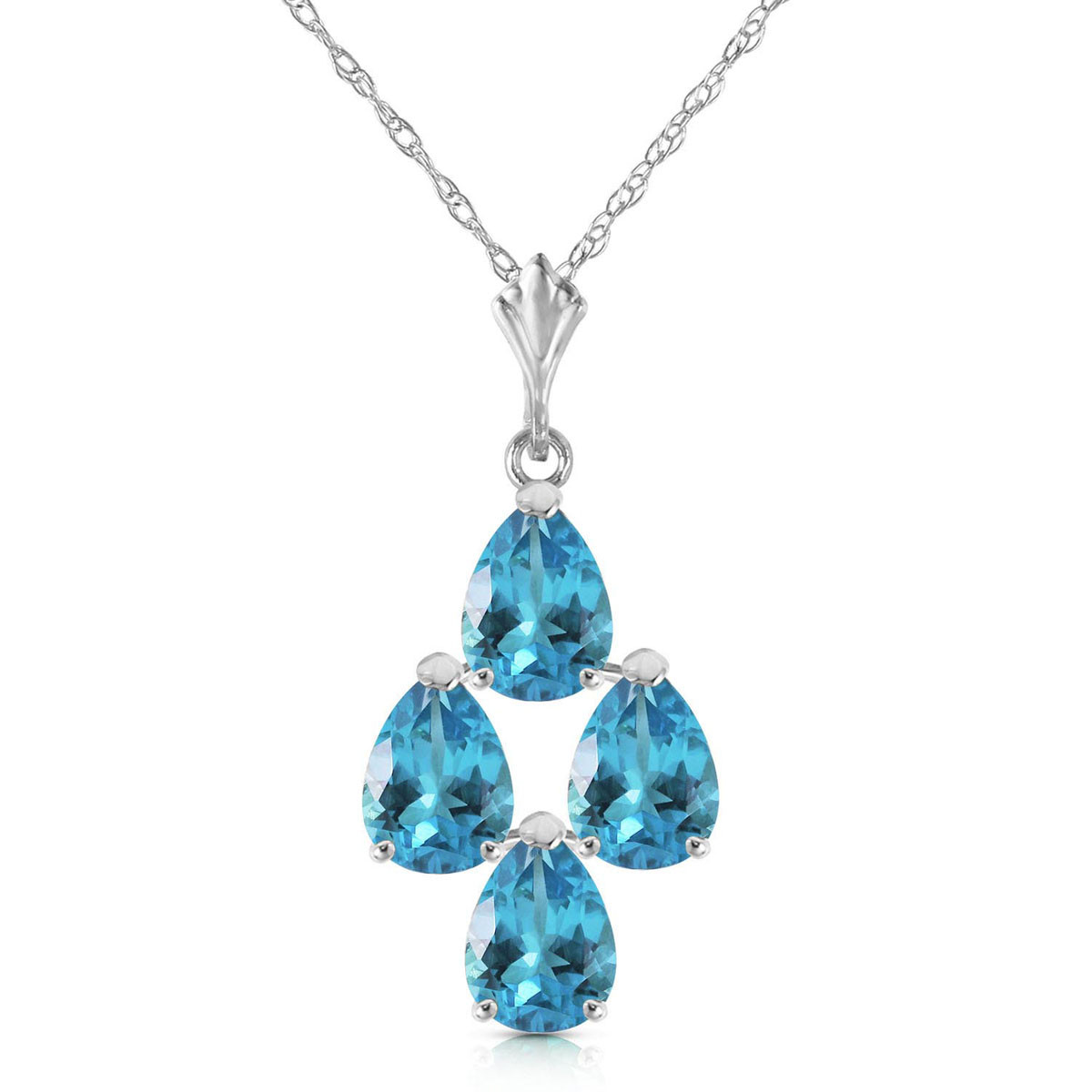 Blue Topaz Chandelier Pendant Necklace 1.5 ctw in 9ct White Gold