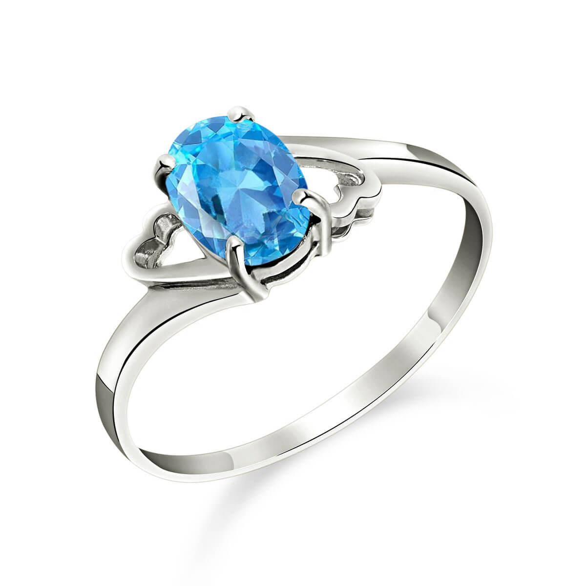 Blue Topaz Classic Desire Ring 0.95 ct in 9ct White Gold